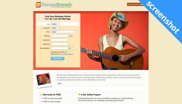 EthiopianPersonals.com screenshot