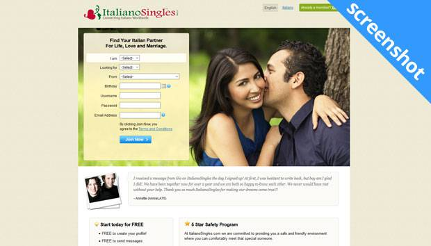 ItalianoSingles.com screenshot