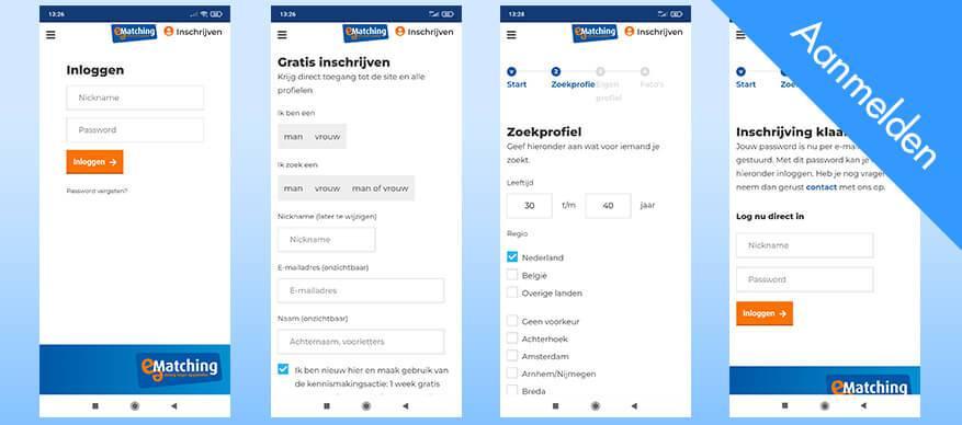 e-matching app aanmelden