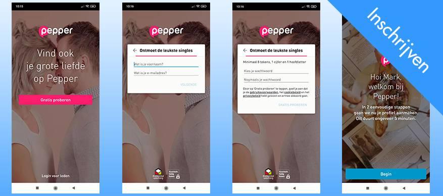 pepper app inschrijven